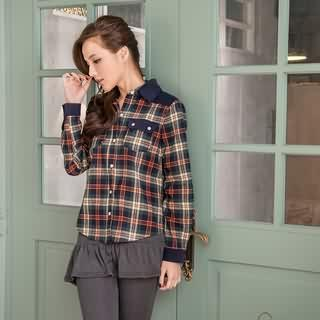 RingBear - Corduroy Plaid Blouse