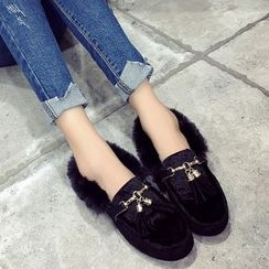 Chryse - Fleece-lined Tasseled Loafers