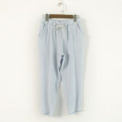 Ranche - Drawstring Cropped Pants
