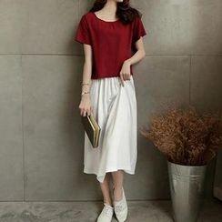 Jolly Club - Set: Short-Sleeve Top + Midi Skirt