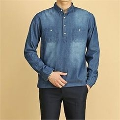 THE COVER - Half-Placket Dual-Pocket Denim Top