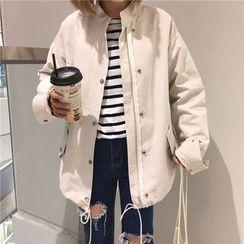 monroll - 纯色长款拉链夹克