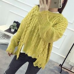 YAMI - Distressed Cable-Knit Sweater