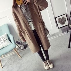 Qimi - Plain Long Cardigan