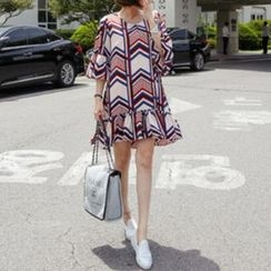 trendedge - Patterned Frill Trim Elbow Sleeve Mini Dress