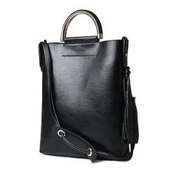 Pandabada - Plain Genuine Leather Shoulder Bag