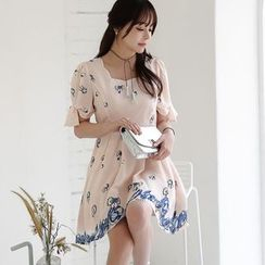 Dowisi - Floral Print Puff-sleeve Chiffon Dress