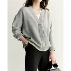 UPTOWNHOLIC - V-Neck Contrast-Trim Cardigan