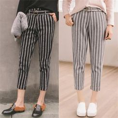 SUYISODA - Striped Cropped Harem Pants