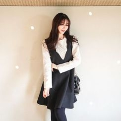 Seoul Fashion - Inset Lace Top Wool Blend Jumper Dress