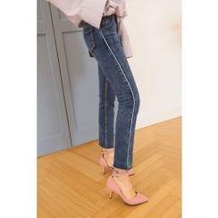 PPGIRL - Contrast-Trim Skinny Jeans