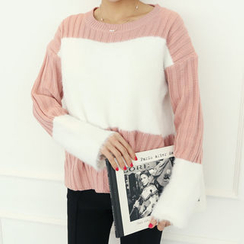 DANI LOVE - Furry-Panel Boxy-Fit Knit Top