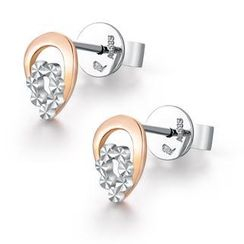 MaBelle - 14K Bicolor Rose and White Gold Waterdrop Diamond-Cut Earrings, Women Jewelry in Gift Box