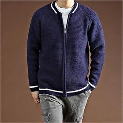 THE COVER - Contrast-Trim Zip-Up Cardigan