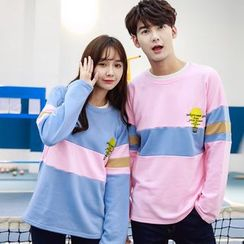 belle epoque - Couple Matching Light Bulb Embroidered Color Panel Pullover