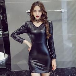 EFO - Faux-Leather Sheath Dress