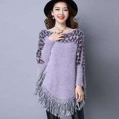 chic n' fab - Patterned Fringe Long Sweater