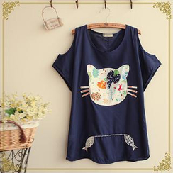 Fairyland - Cat Face Cutout Shoulder Top