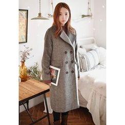 GOROKE - Notched-Collar Wool Blend Herringbone Coat