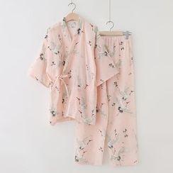 Meimei - Pajama Set: Crane Print Wrap Top + Pants