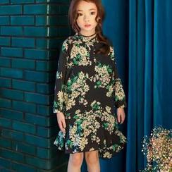 Cuckoo - Kids Floral Print Chiffon Dress