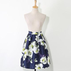 V-MAY - Floral A-Line Skirt