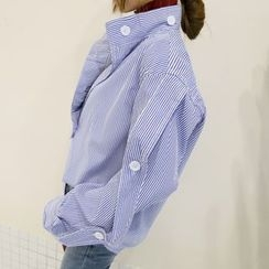 DABAGIRL - Mandarin-Collar Tab-Sleeve Stripe Blouse
