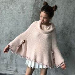 Anlay - Loose-Fit Plain Fringed Knit Cape Jacket