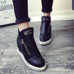 Yoflap - Side Zip Hidden Wedge Sneakers