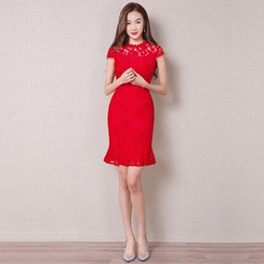 Royal Style - Cap-Sleeve Sheath Lace Party Dress