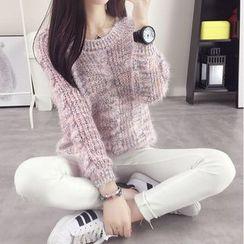 Pecora - Melange Cable Knit Sweater