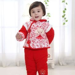 KUBEBI - Kids Set: Chinese Frog Button Padded Jacket + Pants