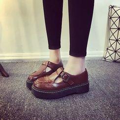 Wello - T字帶厚底鞋
