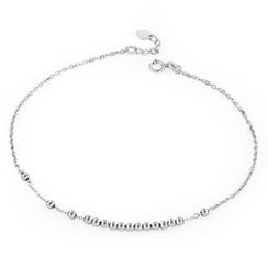 MaBelle - 14K Italian White Gold Diamond-Cut Tiny Moving Beads Anklet (23.5cm), Women Girl Jewelry in Gift Box