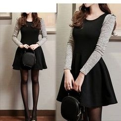 Sienne - Knit-Sleeve  A-Line Dress