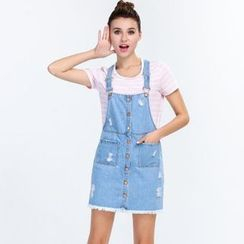 Yishion - Distressed Denim Suspender Skirt