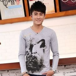 Neptuno - Printed V-Neck Long-Sleeve T-Shirt