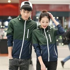 COOLS - Couple Matching Color Panel Hooded Zip Jacket