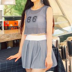 Sweet Splash - Set: Plain Bikini + Number Print Sleeveless Top + A-Line Skirt