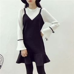 Octavia - Long Bell Sleeve Mock Two Piece Knit Dress