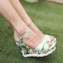 TULASI - Floral Print Wedge Sandals