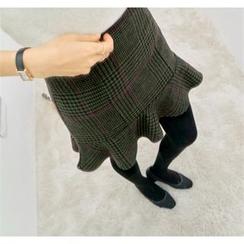 PEPER - Ruffle-Hem Check Skirt
