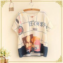 Fairyland - Printed V-Neck Short Sleeve T-Shirt