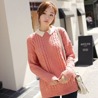 CLICK - Collared Chunky Knit Sweater