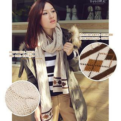 Thantrue - Argyle-Pattern Cashmere Knit Scarf