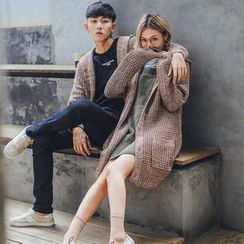 Simpair - Couple Matching Chunky Long Hooded Cardigan