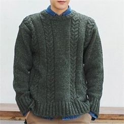 MITOSHOP - Round-Neck Cable-Knit Sweater