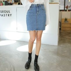 Envy Look - Denim Mini Pencil Skirt