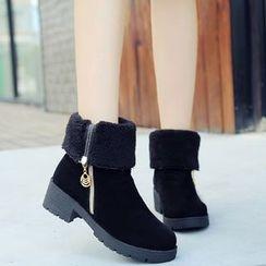 One100 - Chunky-Heel Platform Zip-Accent Short Boots