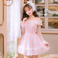 Candy Rain - Long-Sleeve Off Shoulder Lace Trim A-line Dress